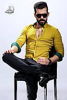 Мужская желтая приталенная рубашка