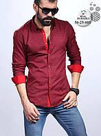 Мужская бордовая приталенная рубашка