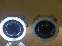 """Линзы+лампы+блоки розжига с """"ангельскими глазками"""" MORIMOTO H1 Полный комплект"""