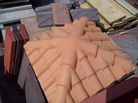 "Колпак бетонный на столб забора 335х335х50мм ""Черепица"""
