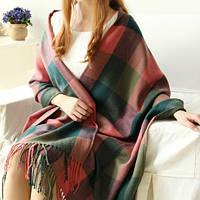 Модный женский шарф палантин в клетку