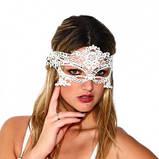 Венецианская таинственная ажурная маска белая, фото 2