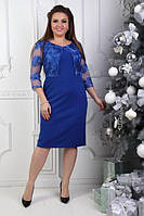 Платье женское нарядное впереди имитация болеро креп+ кружево Размер 50,52,54,56