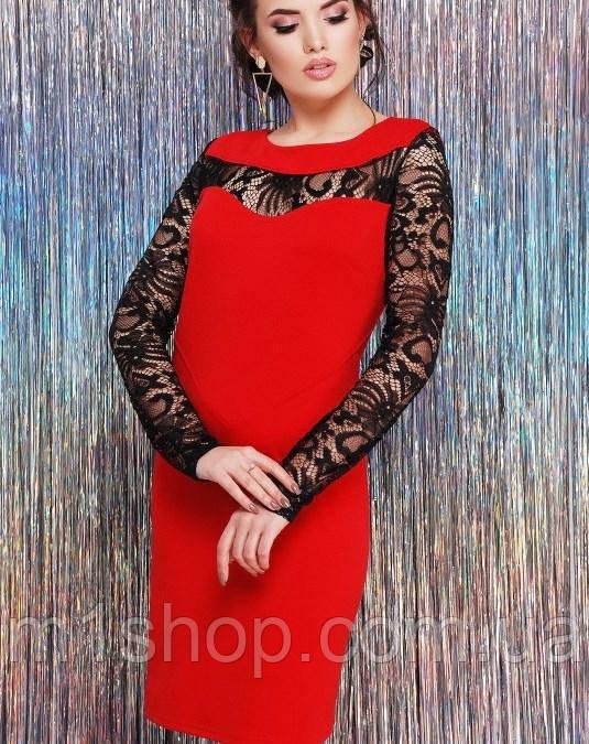 Женское комбинированное платье с гипюровыми рукавами (Valeriefup)