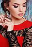 Женское комбинированное платье с гипюровыми рукавами (Valeriefup), фото 6
