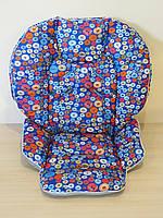 Чехол на стульчик Chicco Polly 2 в 1 пуговицы на синем