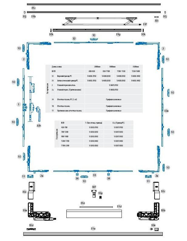 РС алюм. комплектный  набор № 2/3500 мм (коричн. )