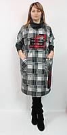 Женское турецкое платье клетка, DARKWIN (Турция) 54-62 рр