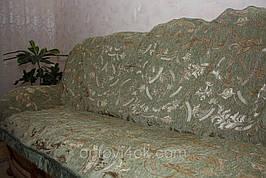 Полуторное покрывало (дивандек) на кровать Версаче оливковое