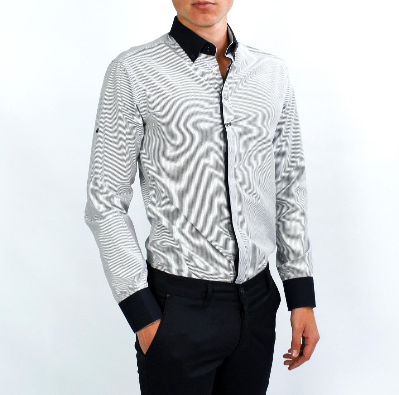 6be8b7ecccc Белая в полоску мужская рубашка классическая KLASOY  продажа