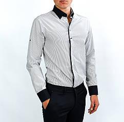 Белая в полоску мужская рубашка классическая KLASOY