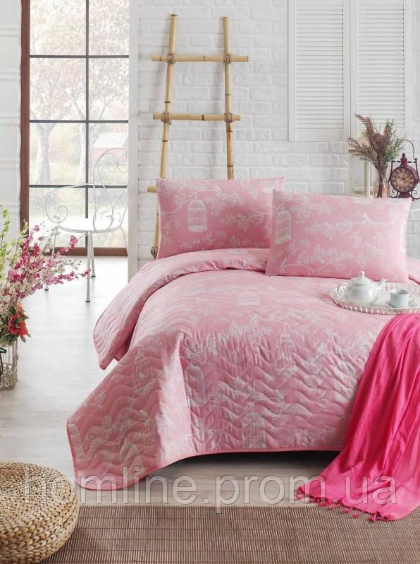 Покрывало стеганное с наволочками 200*220 Eponj Home Samyeli розовое
