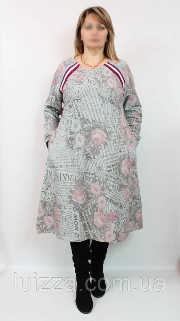 Турецьке тепле плаття - туніка Троянда, DARKWIN (Туреччина) 54-64 рр