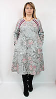 Турецкое теплое платье - туника Роза, DARKWIN (Турция) 54-64 рр