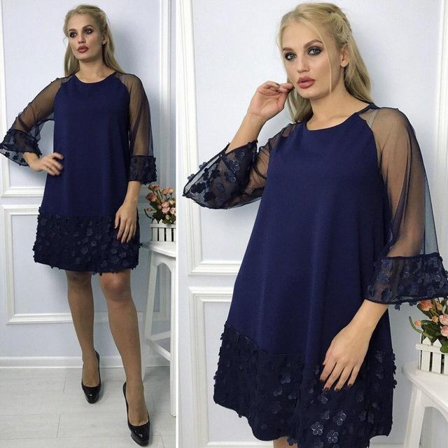 858862346fa77dc Платье женское нарядное плотный креп+ сетка рукав Размер 48, 50, 52, 54