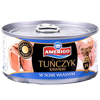 Тунец Amerigo Tunczyk в собственном соку (кусочками) 185g