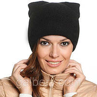 """Женская шапка """"Кошка"""" двойная вязка"""