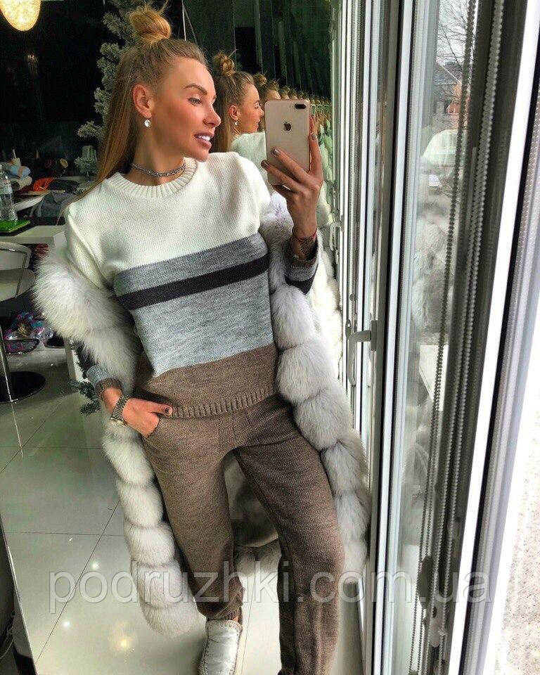 Вязаный костюм женский теплый свитер и брюки: продажа ...