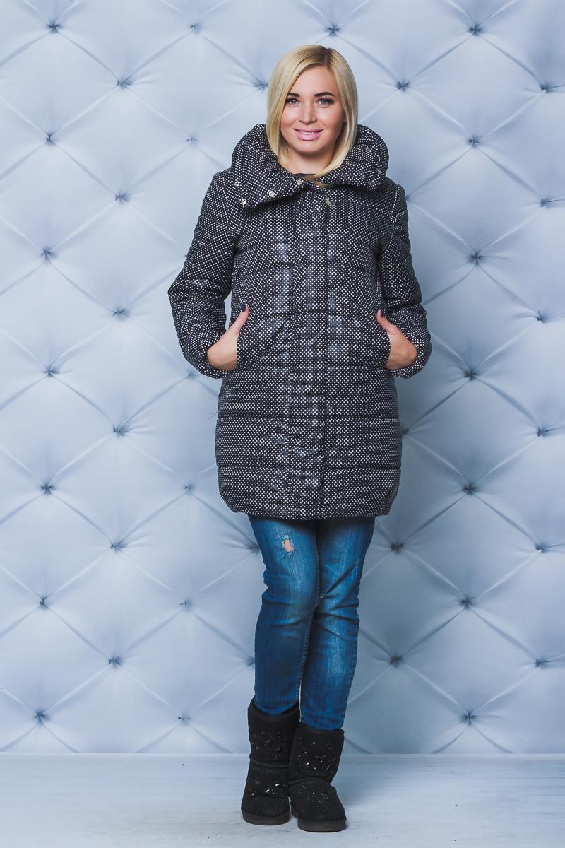 Зимняя куртка со стойкой черный горох