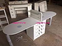 Маникюрный стол для двух мастеров, складной маникюрный стол на два рабочих места. Модель  V155 белый, фото 1
