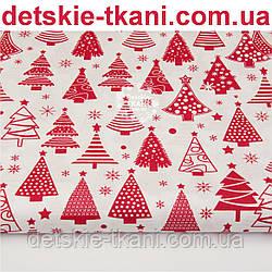 """Ткань новогодняя """"Ёлки разной формы"""" красные на белом фоне, № 1102"""