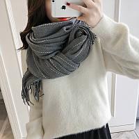 Модный женский шарф палантин в полоску серого цвета