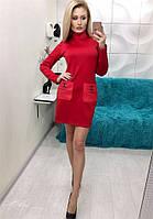 Свободное платье Elise с красивими кожаними кармашками с накатом Chanel (2 цвета) (131)71