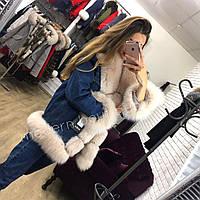 Джинсовая куртка женская с натуральным мехом Glamor fox
