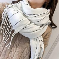 Модный женский шарф палантин в полоску белого цвета