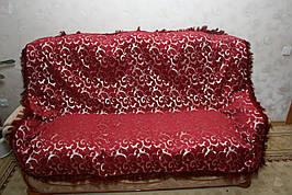 Вензель мелкий (красный) полуторное покрывало на диван, кровать, тахту