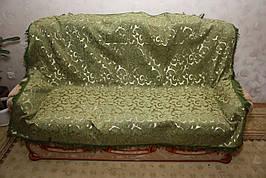 Вензель мелкий (зеленый) полуторное покрывало на диван, кровать, тахту