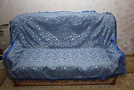 Вензель мелкий (синий) полуторное покрывало на диван, кровать, тахту