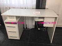Маникюрный столик с ультрафиолетом, стол с вытяжкой 16вт и розеткой. Модель V157 белый