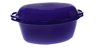 Чугунная утятница с крышкой-сковородой эмалированная(280х180х125, V=3.5л)ЭМГ синяя
