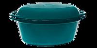 Чугунная утятница с крышкой-сковородой эмалированная(280х180х125, V=3.5л) ЭМГ зеленая