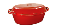 Чугунная утятница с крышкой-сковородой эмалированная(280х180х125, V=3.5л) ЭМГ бордовая