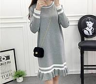 Утонченное теплое полосатое платье Ivanna с оборками по низу юбки (4 цвета) (112)319