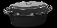 Чугунная утятница с крышкой-сковородой эмалированная(280х180х125, V=3.5л) ЭМГ черная