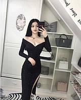 eb8b9b16003 Шикарное вечернее платье Irina с глубоким декольте и разрезом на ножке  (112)320