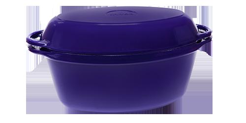 Чугунная   утятница с крышкой-сковородой эмалированная(320 х 200 х 130, V=5 л) ЭМГ синяя
