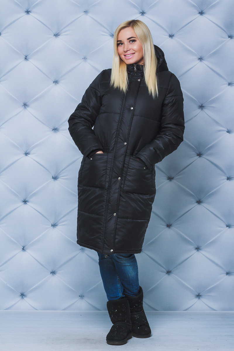 Пальто женское зимнее черное