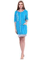Женский велюровый халат на молнии с капюшоном