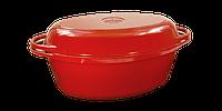 Чугунная утятница с крышкой-сковородой эмалированная(320 х 200 х 130, V=5 л) ЭМГ бордовая