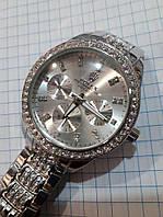 Женские часы Rolex 115236 серебристые в стразах диаметр 3,8 см металлический браслет