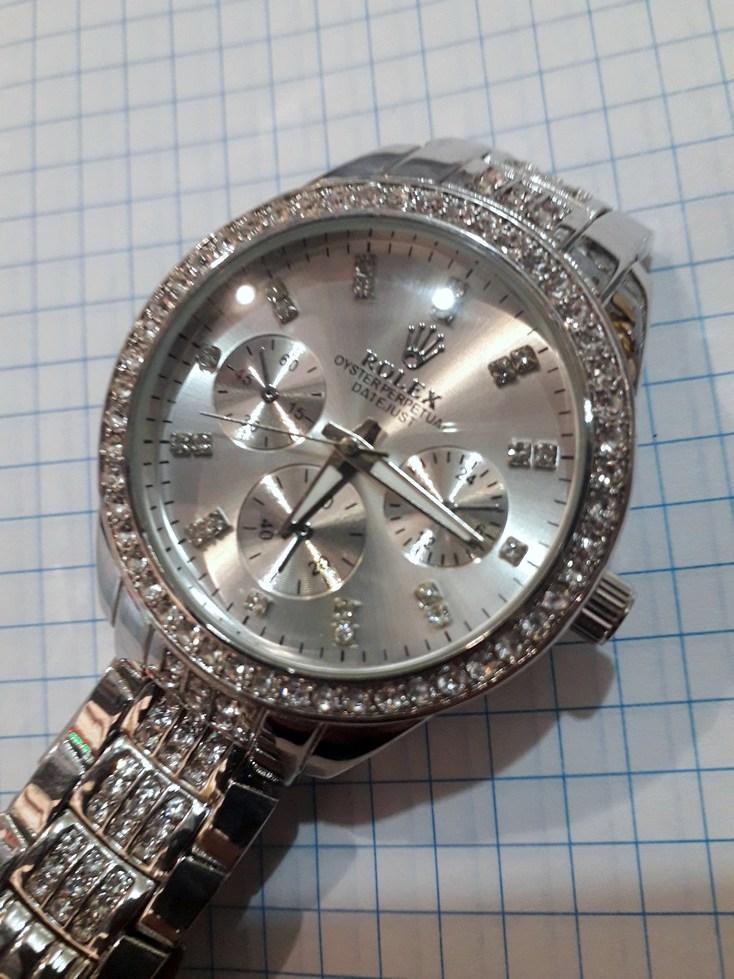 a7dda93e471e Женские часы Rolex 115236 серебристые в стразах диаметр 3,8 см металлический  браслет копия