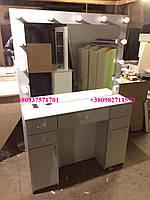 Стол для макияжа с большим зеркалом с лампами. Модель V130 белый, фото 1