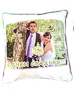 Подушка с фото персиковая кайма