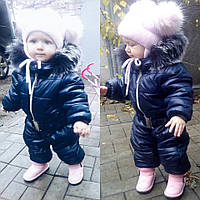 Зимний детский комбинезон на девочку, теплый на синтепоне и флисе