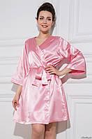 Домашний комплект атласный: халат и пеньюар размер XXXL (50-52), шелк, розовый