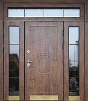 Входные двери уличные с МДФ-накладками и с верхней и боковыми остеклёнными фрамугами